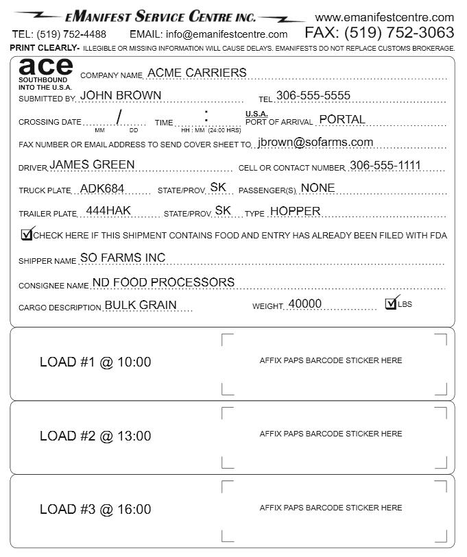 ACE Quick Trip Form Sample